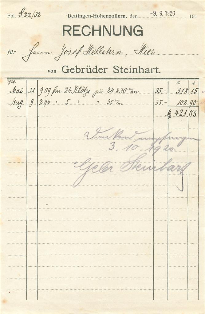 3x alte rechnung dettingen horb gebr der steinhart 1920 1923 1924 e720 ebay. Black Bedroom Furniture Sets. Home Design Ideas
