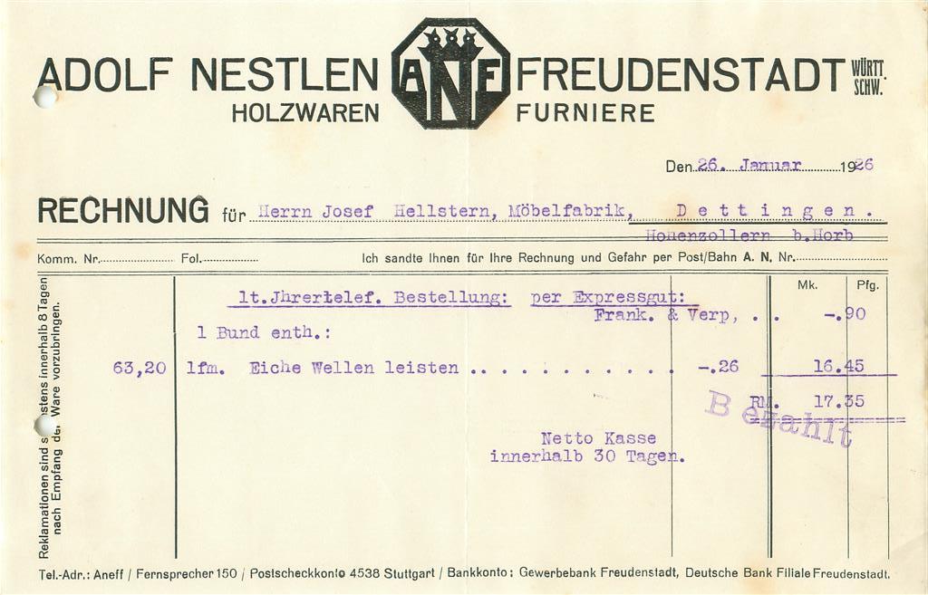 alte rechnung adolf nestlen freudenstadt holzwaren 1926 e729 ebay. Black Bedroom Furniture Sets. Home Design Ideas