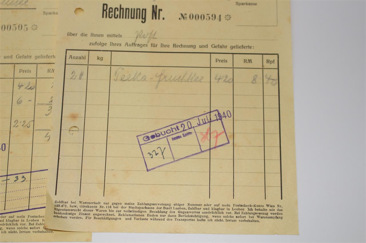 5x alte rechnung hans fuhrmann leoben von 1940 a744 ebay. Black Bedroom Furniture Sets. Home Design Ideas