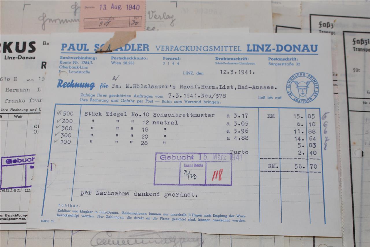 posten mit 31x alte rechnung linz donau 1940 1941 fabrik industrie a748 ebay. Black Bedroom Furniture Sets. Home Design Ideas