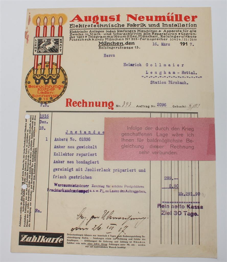 alte Rechnung, August Neumüller, München, Elektro Fabrik von 1917 ...
